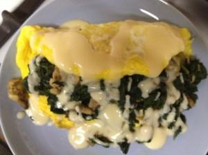 Oysters, Greens, Bechamel Omelette