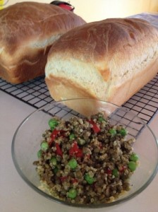 Buttermilk Bread with Quinoa and Lentil Salad